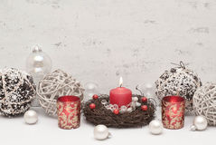 Christmas. Table decoration with candle Stock Photo