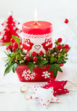 Christmas table decoration with candle Stock Image