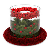 Christmas table decoration with candle isolated on white. Background Royalty Free Stock Photography