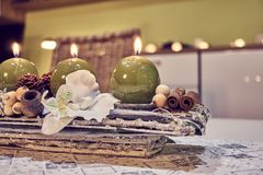 Christmas table decoration with candles Royalty Free Stock Photos