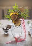 Christmas table decoration with citrus canes Royalty Free Stock Image