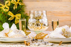 Christmas table decoration Stock Photos