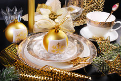 Christmas table decoration in glamour style Stock Photos