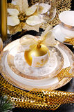 Christmas table decoration in glamour style Royalty Free Stock Images
