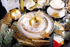 Christmas table decoration in glamour style Royalty Free Stock Photography