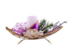 Christmas table decoration isolated on white Royalty Free Stock Image
