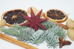 Christmas table Decoration with a little Santa Stock Photography