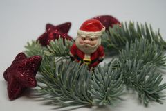 Christmas table Decoration with a little Santa Stock Photos