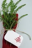 Christmas table decoration, red napkin with healthy herbs and place card with christmass tree. Christmas table decoration in minimal style, red napkin with stock photography