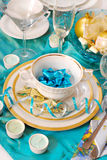 Christmas table decoration in turquoise  colors Royalty Free Stock Photos