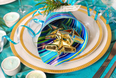 Christmas table decoration in turquoise  colors Stock Images