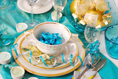Christmas table decoration in turquoise  colors Stock Image