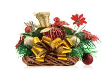 Christmas table decoration. On white background Royalty Free Stock Images