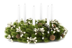 Christmas table decoration wreath with candles on white Images stock