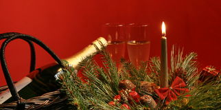 Christmas table decorations. Celebration decorations with wine bottle stock photography