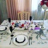 Christmas table design stock photos