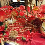 Christmas table design stock images