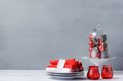 Christmas table display, modern simple minimalistic Royalty Free Stock Photos