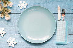 Christmas table and empty plate background concept Royalty Free Stock Image