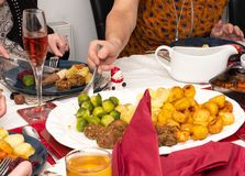Christmas Table with festive Food stock photography