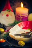 Christmas table festive supper setting eve Stock Image