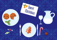 Christmas table full of sweets. Christmas vector illustration. Christmas card with Christmas meal. Holiday background Christmas meal. Holiday background Stock Images