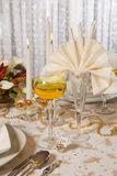 Christmas table in gold 1 Royalty Free Stock Image