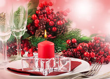 Christmas table layout Royalty Free Stock Images