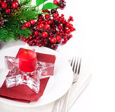 Christmas table layout Royalty Free Stock Image