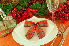Christmas table layout, multi-colored tape Stock Images