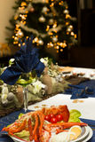 Christmas table with lobster Royalty Free Stock Photo