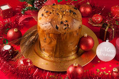 christmas table with panettone royalty free stock photos
