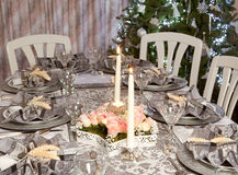Christmas table in pink and grey stock image