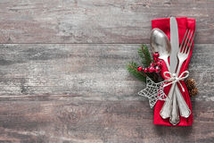 Free Christmas Table Place Setting Royalty Free Stock Photography - 62067657