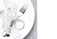 Christmas table place setting with christmas decorations isolate Stock Image