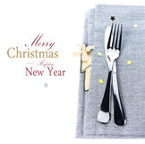 Christmas table place setting with christmas decorations in silv Royalty Free Stock Photos