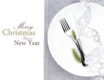 Christmas table place setting with christmas decorations  in whi Stock Images