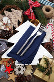 Christmas table place setting with christmas decorations Royalty Free Stock Photo