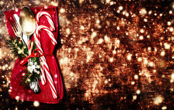 Christmas table place setting with christmas ornaments and copy Stock Image
