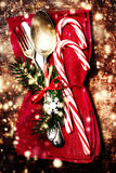 Christmas table place setting with christmas ornaments and copy Royalty Free Stock Photography