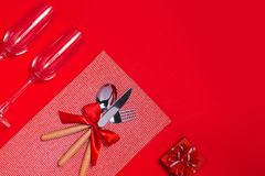 Christmas table place setting with copy space Stock Image