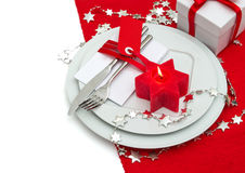 Christmas table place setting decoration in red and silver Stock Image