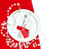 Christmas table place setting decoration in red and silver Royalty Free Stock Photography