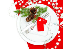 Christmas table place setting decoration in red and silver Stock Photos