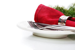 Christmas table place setting. With christmas decorations Royalty Free Stock Image