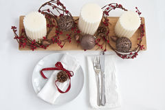 Christmas table place setting Royalty Free Stock Photo