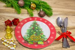 Christmas table place setting. Festive background. royalty free stock photo