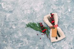 Christmas table place setting. Flat lay, copy space royalty free stock image