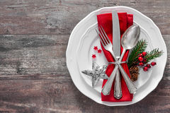 Christmas table place setting. Holidays background Royalty Free Stock Photography