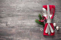 Christmas table place setting Royalty Free Stock Photography